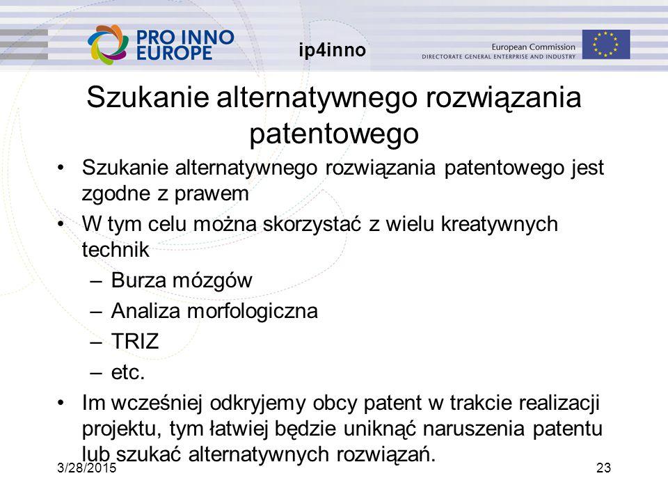 ip4inno 3/28/201523 Szukanie alternatywnego rozwiązania patentowego Szukanie alternatywnego rozwiązania patentowego jest zgodne z prawem W tym celu można skorzystać z wielu kreatywnych technik –Burza mózgów –Analiza morfologiczna –TRIZ –etc.