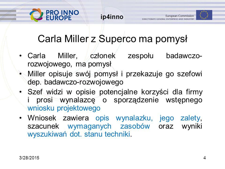 ip4inno 3/28/20154 Carla Miller z Superco ma pomysł Carla Miller, członek zespołu badawczo- rozwojowego, ma pomysł Miller opisuje swój pomysł i przekazuje go szefowi dep.