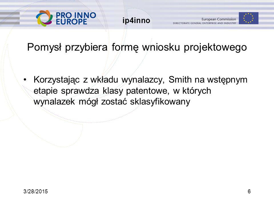 ip4inno 3/28/201527 Plan prezentacji Ogólna prezentacja Superco Carla Miller z Superco ma pomysł Pomysł przybiera formę wniosku projektowego Wniosek projektowy zostaje rozpatrzony przez zarząd Projekt zostaje zweryfikowany rok później Powstaje dokumentacja dot.