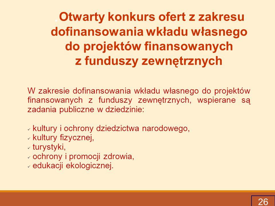 26. Otwarty konkurs ofert z zakresu dofinansowania wkładu własnego do projektów finansowanych z funduszy zewnętrznych W zakresie dofinansowania wkładu