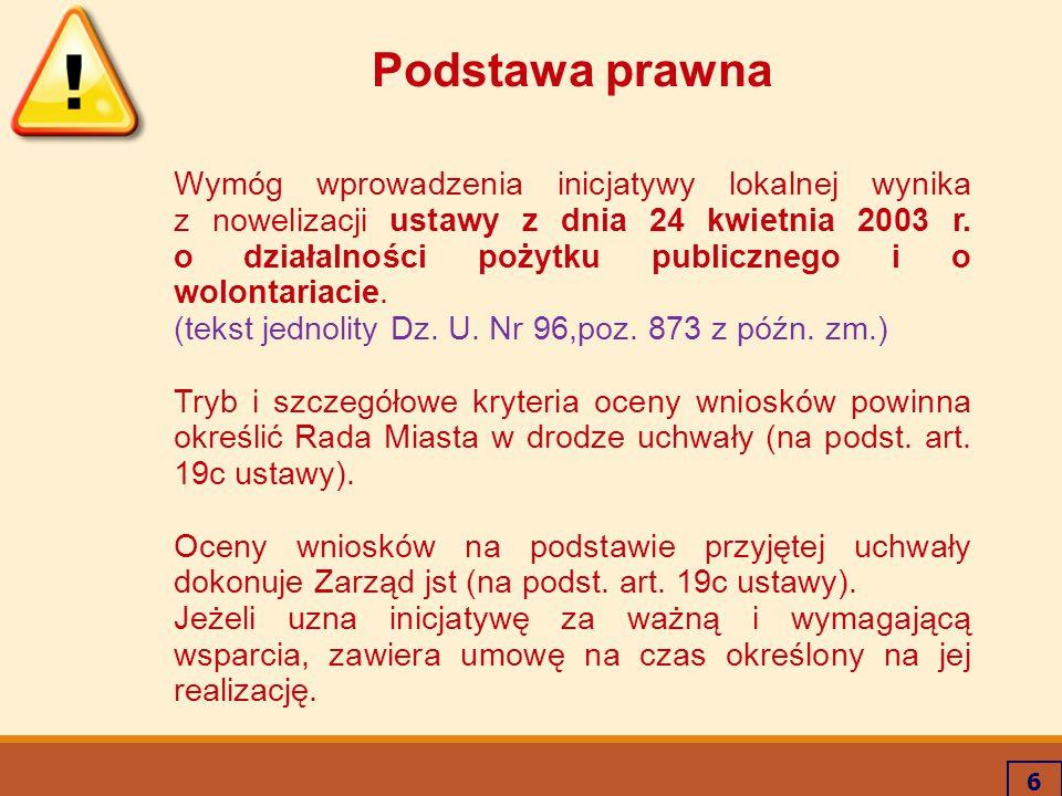 6 Podstawa prawna Wymóg wprowadzenia inicjatywy lokalnej wynika z nowelizacji ustawy z dnia 24 kwietnia 2003 r. o działalności pożytku publicznego i o