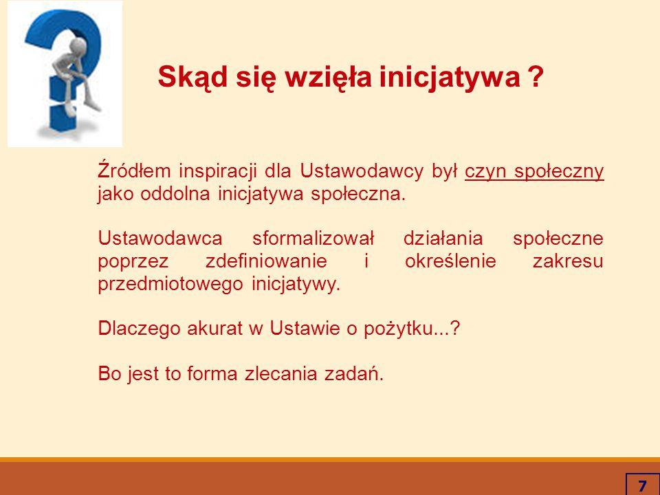 7 Skąd się wzięła inicjatywa ? Źródłem inspiracji dla Ustawodawcy był czyn społeczny jako oddolna inicjatywa społeczna. Ustawodawca sformalizował dzia