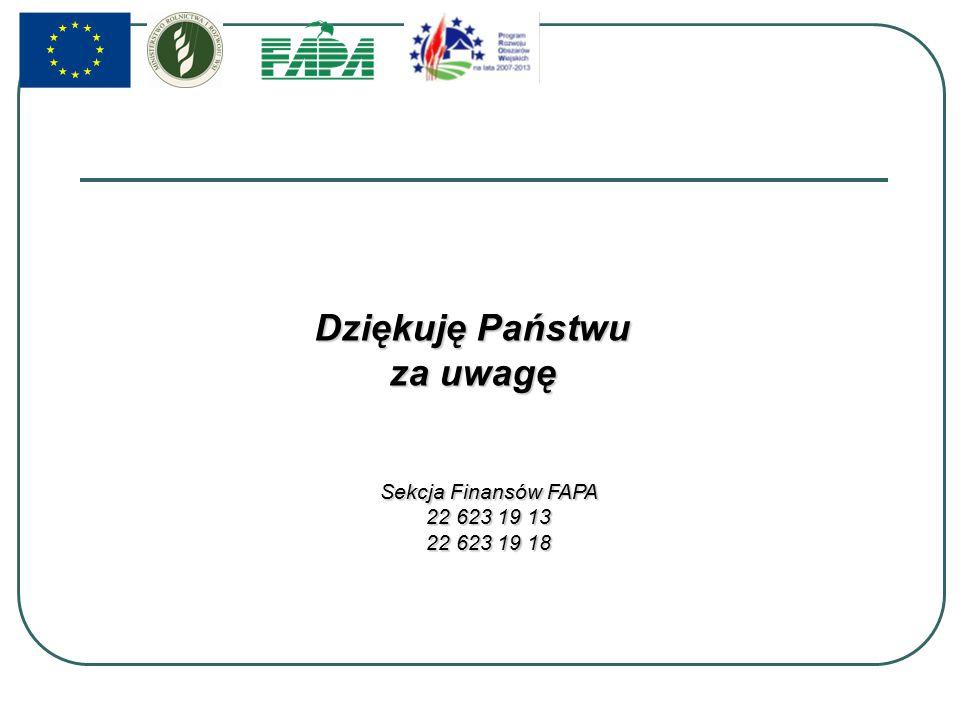 Dziękuję Państwu za uwagę Sekcja Finansów FAPA 22 623 19 13 22 623 19 18