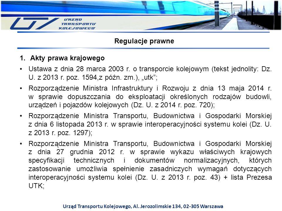 Urząd Transportu Kolejowego, Al.Jerozolimskie 134, 02-305 Warszawa art.