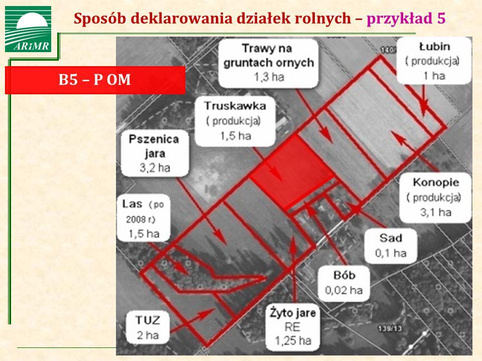 Agencja Restrukturyzacji i Modernizacji Rolnictwa Sposób deklarowania działek rolnych – przykład 5 B5 – P OM