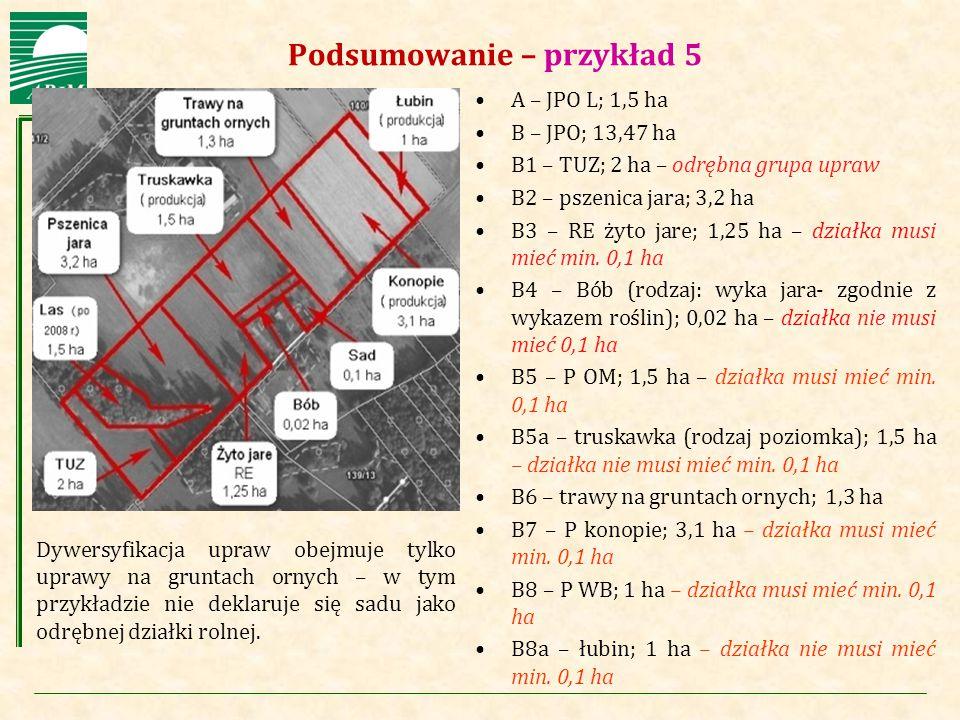 Agencja Restrukturyzacji i Modernizacji Rolnictwa Podsumowanie – przykład 5 A – JPO L; 1,5 ha B – JPO; 13,47 ha B1 – TUZ; 2 ha – odrębna grupa upraw B