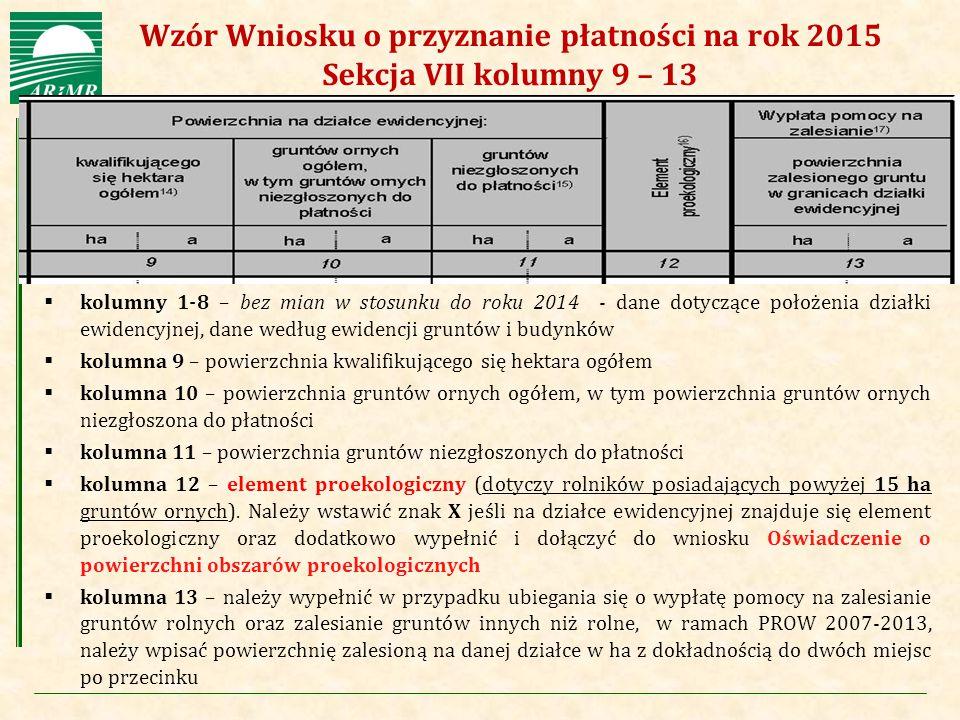Agencja Restrukturyzacji i Modernizacji Rolnictwa  kolumny 1-8 – bez mian w stosunku do roku 2014 - dane dotyczące położenia działki ewidencyjnej, da