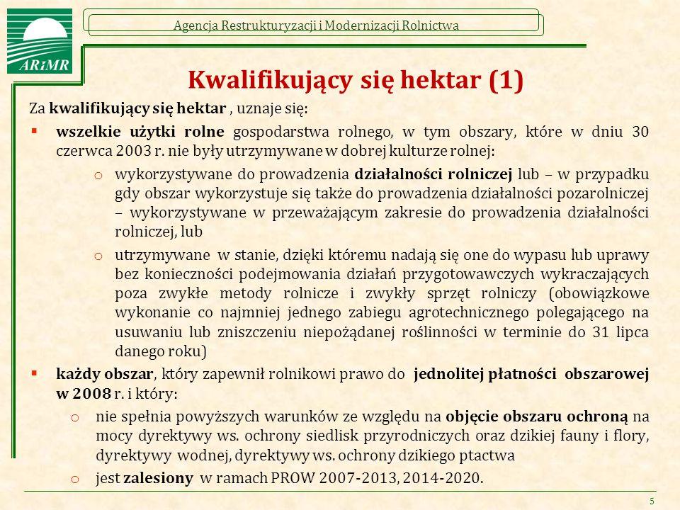 Agencja Restrukturyzacji i Modernizacji Rolnictwa Kwalifikujący się hektar (1) Za kwalifikujący się hektar, uznaje się:  wszelkie użytki rolne gospod
