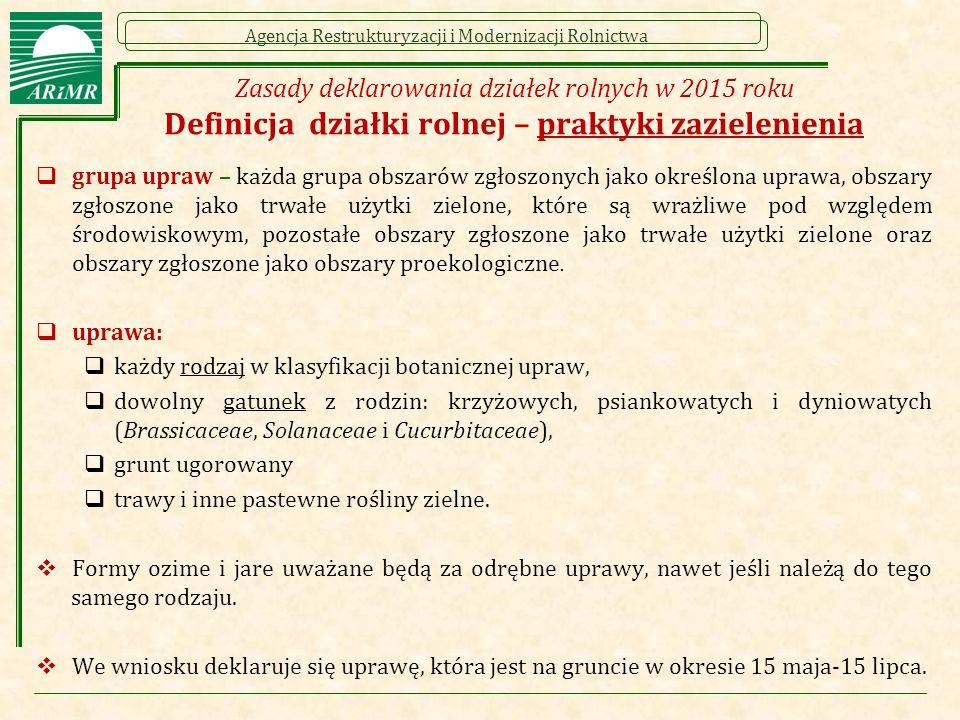 Agencja Restrukturyzacji i Modernizacji Rolnictwa Zasady deklarowania działek rolnych w 2015 roku Definicja działki rolnej – praktyki zazielenienia 