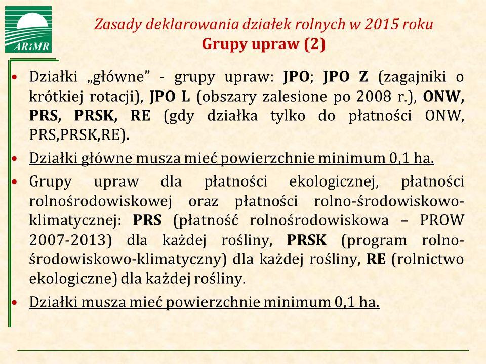 """Agencja Restrukturyzacji i Modernizacji Rolnictwa Zasady deklarowania działek rolnych w 2015 roku Grupy upraw (2) Działki """"główne"""" - grupy upraw: JPO;"""