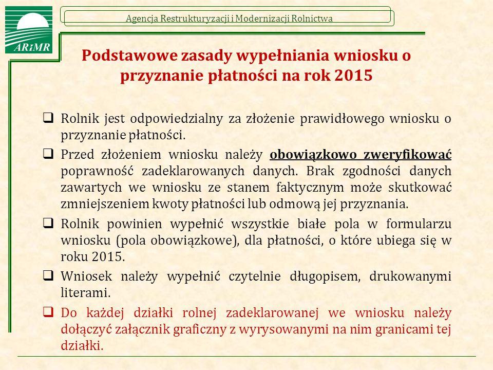 Agencja Restrukturyzacji i Modernizacji Rolnictwa Podstawowe zasady wypełniania wniosku o przyznanie płatności na rok 2015  Rolnik jest odpowiedzialn