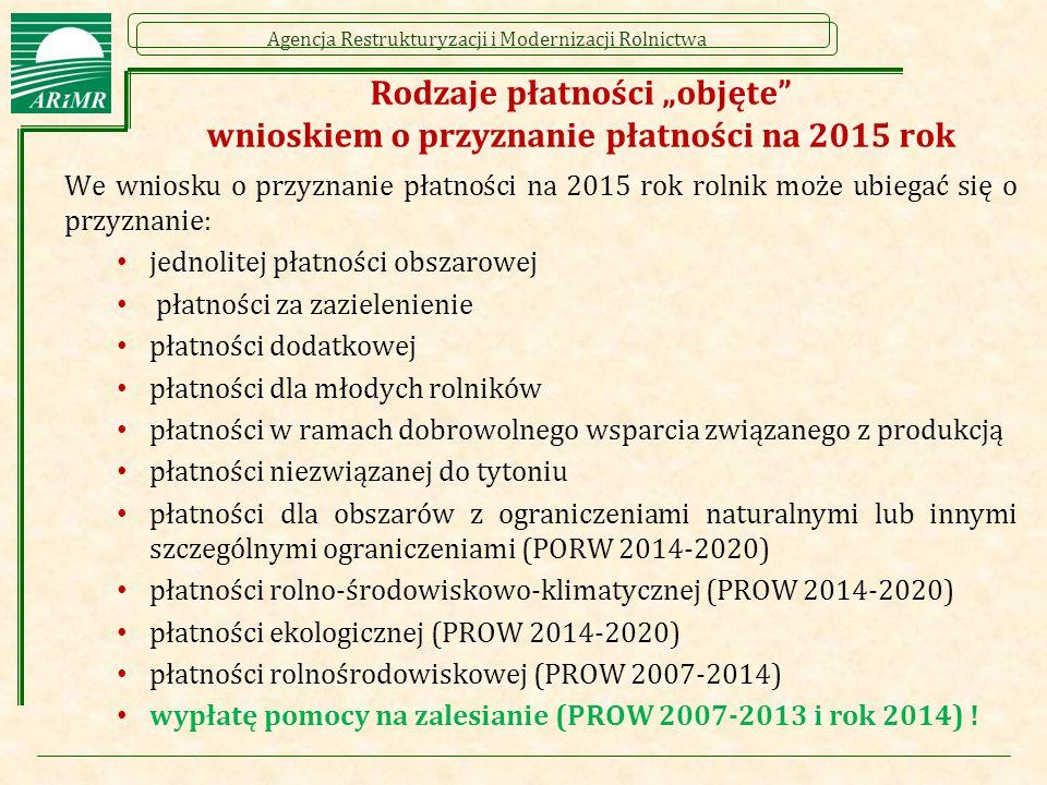 """Agencja Restrukturyzacji i Modernizacji Rolnictwa Rodzaje płatności """"objęte"""" wnioskiem o przyznanie płatności na 2015 rok We wniosku o przyznanie płat"""