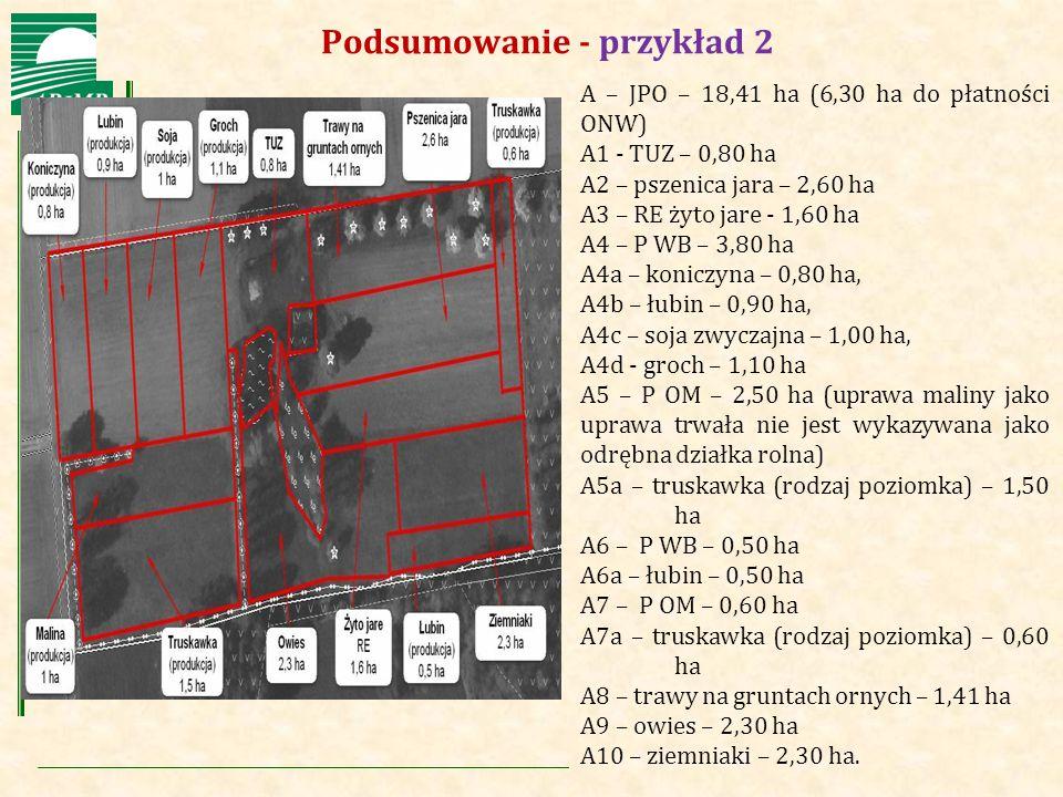 Agencja Restrukturyzacji i Modernizacji Rolnictwa Podsumowanie - przykład 2 A – JPO – 18,41 ha (6,30 ha do płatności ONW) A1 - TUZ – 0,80 ha A2 – psze