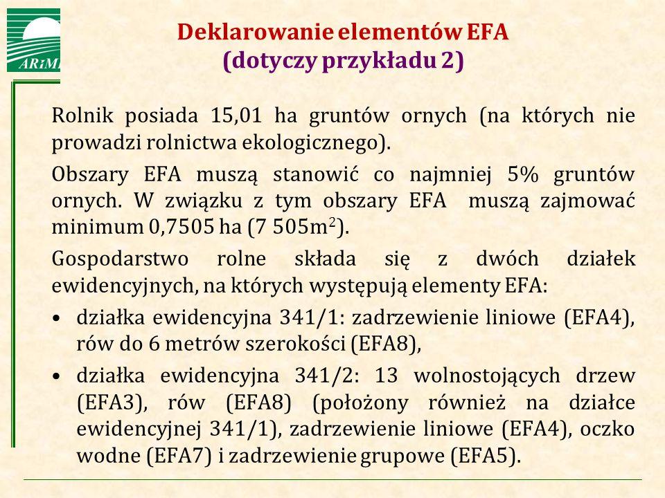 Agencja Restrukturyzacji i Modernizacji Rolnictwa Deklarowanie elementów EFA (dotyczy przykładu 2) Rolnik posiada 15,01 ha gruntów ornych (na których
