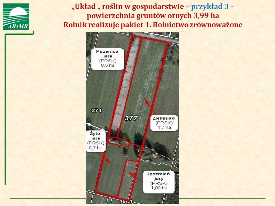 """Agencja Restrukturyzacji i Modernizacji Rolnictwa """"Układ """" roślin w gospodarstwie – przykład 3 – powierzchnia gruntów ornych 3,99 ha Rolnik realizuje"""
