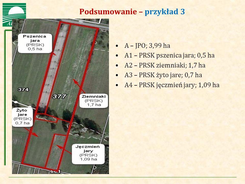 Agencja Restrukturyzacji i Modernizacji Rolnictwa Podsumowanie – przykład 3 A – JPO; 3,99 ha A1 – PRSK pszenica jara; 0,5 ha A2 – PRSK ziemniaki; 1,7