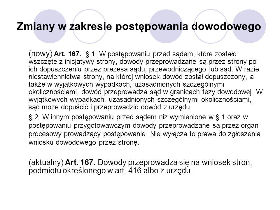 Zmiany w zakresie postępowania dowodowego (nowy) Art. 167. § 1. W postępowaniu przed sądem, które zostało wszczęte z inicjatywy strony, dowody przepro
