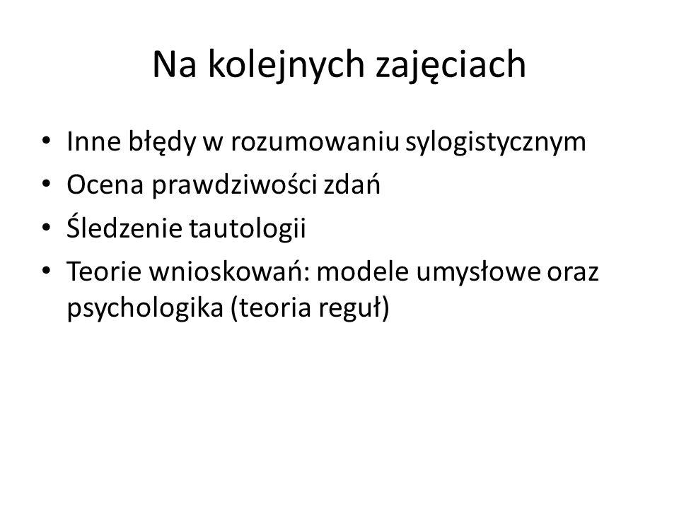 Na kolejnych zajęciach Inne błędy w rozumowaniu sylogistycznym Ocena prawdziwości zdań Śledzenie tautologii Teorie wnioskowań: modele umysłowe oraz ps
