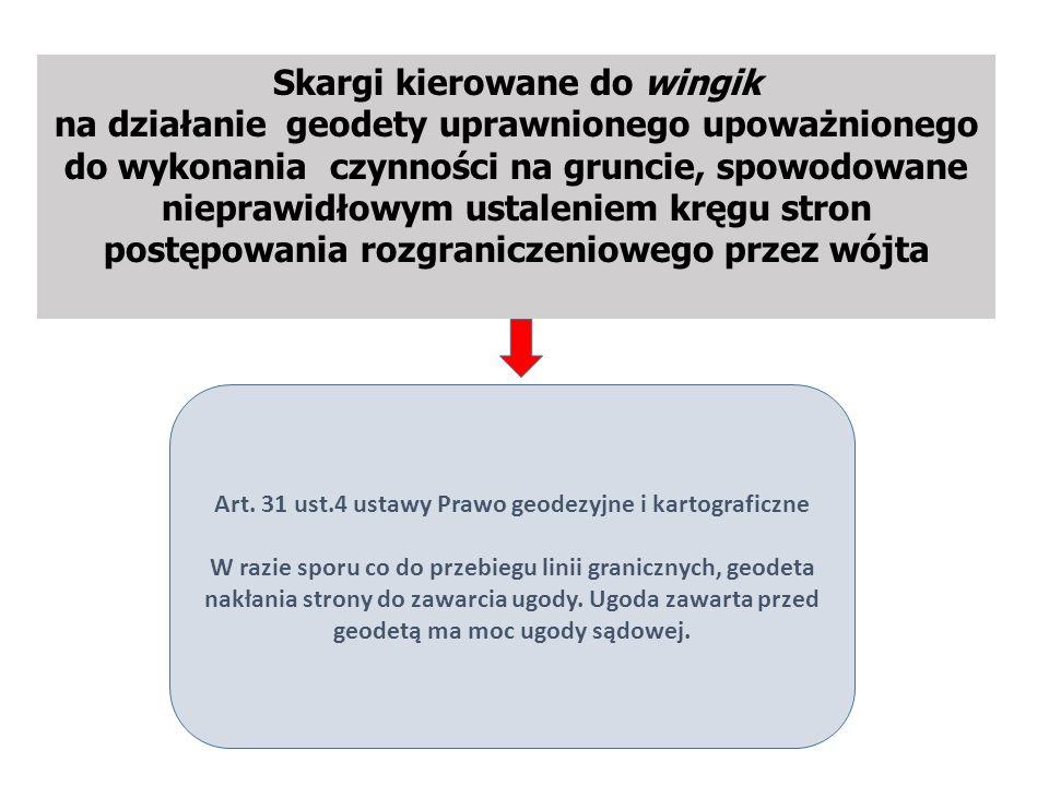Skargi kierowane do wingik na działanie geodety uprawnionego upoważnionego do wykonania czynności na gruncie, spowodowane nieprawidłowym ustaleniem kręgu stron postępowania rozgraniczeniowego przez wójta Art.