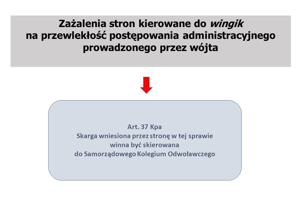 Zażalenia stron kierowane do wingik na przewlekłość postępowania administracyjnego prowadzonego przez wójta Art.