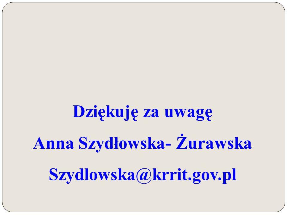 Dziękuję za uwagę Anna Szydłowska- Żurawska Szydlowska@krrit.gov.pl
