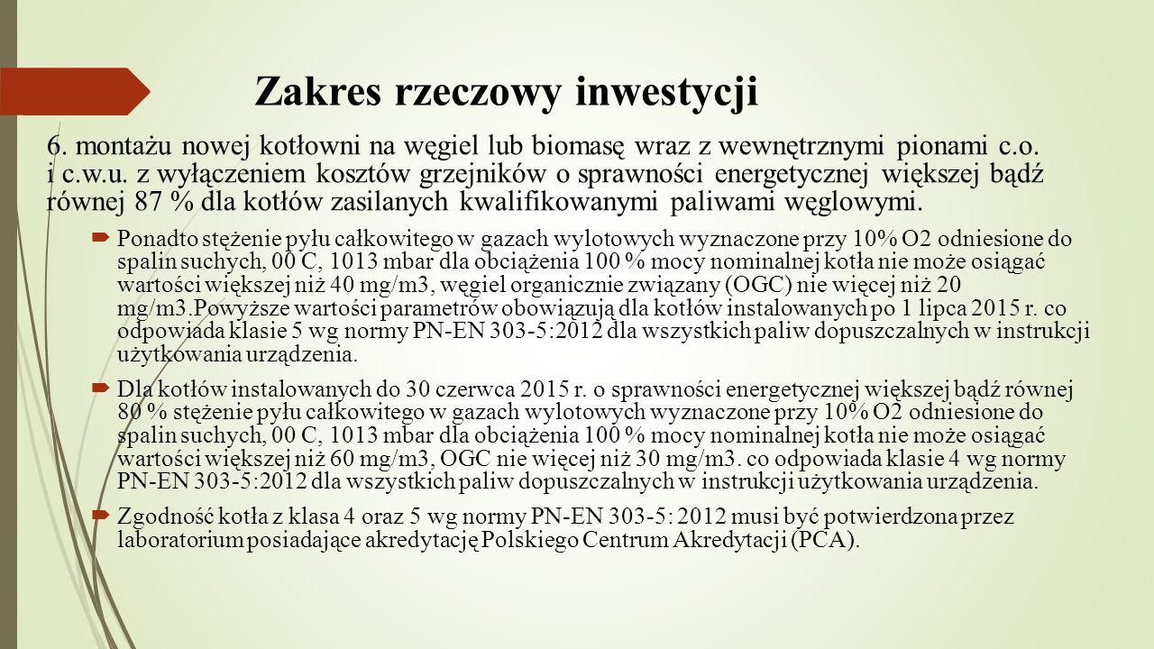 Zakres rzeczowy inwestycji 6.