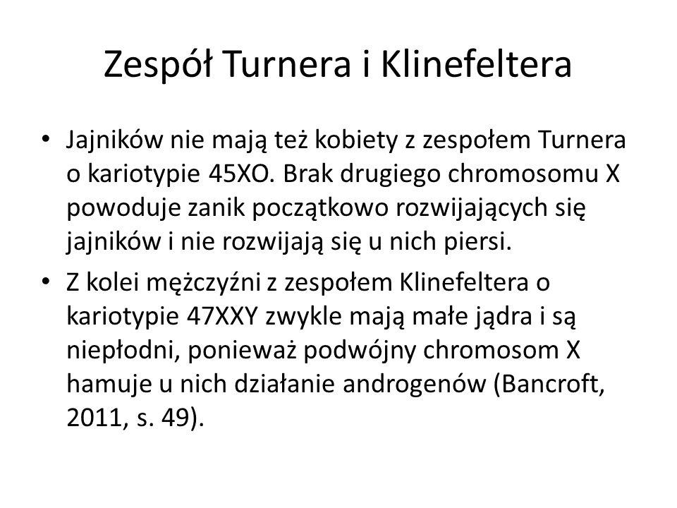 Zespół Turnera i Klinefeltera Jajników nie mają też kobiety z zespołem Turnera o kariotypie 45XO. Brak drugiego chromosomu X powoduje zanik początkowo