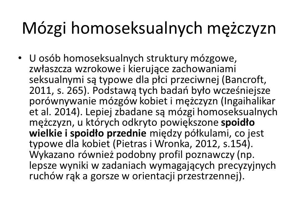 Mózgi homoseksualnych mężczyzn U osób homoseksualnych struktury mózgowe, zwłaszcza wzrokowe i kierujące zachowaniami seksualnymi są typowe dla płci pr