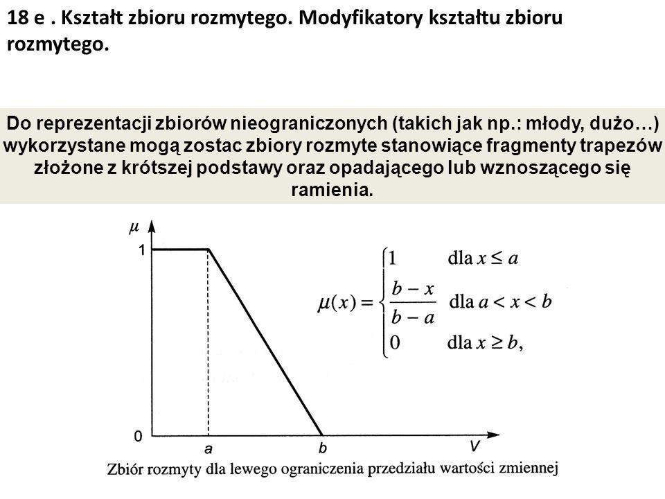 18 e. Kształt zbioru rozmytego. Modyfikatory kształtu zbioru rozmytego. Do reprezentacji zbiorów nieograniczonych (takich jak np.: młody, dużo…) wykor