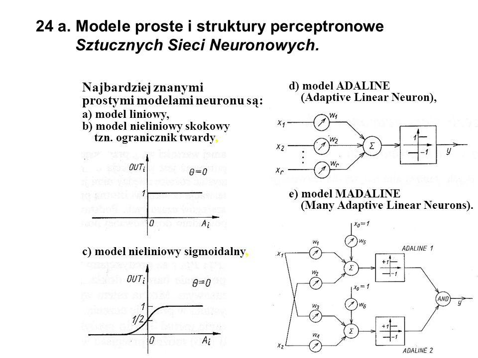 24 a.Modele proste i struktury perceptronowe Sztucznych Sieci Neuronowych.