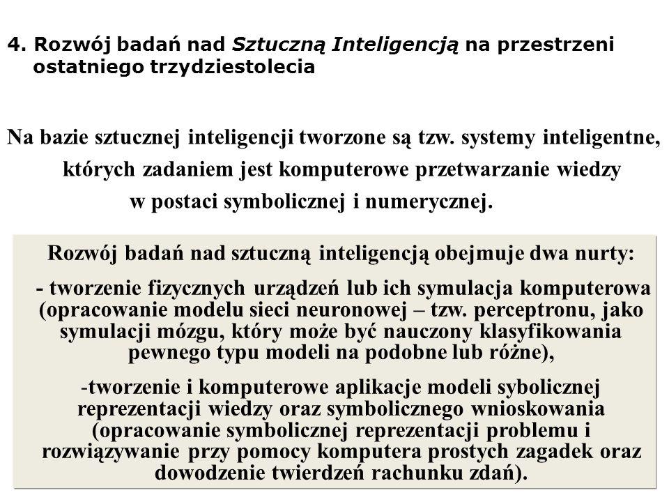 4. Rozwój badań nad Sztuczną Inteligencją na przestrzeni ostatniego trzydziestolecia Na bazie sztucznej inteligencji tworzone są tzw. systemy intelige