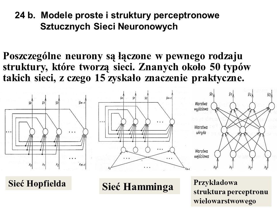 24 b. Modele proste i struktury perceptronowe Sztucznych Sieci Neuronowych Poszczeg ó lne neurony są łączone w pewnego rodzaju struktury, kt ó re twor