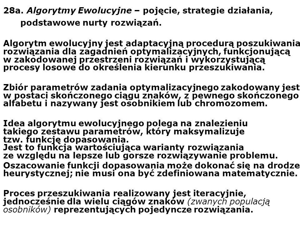 28a. Algorytmy Ewolucyjne – pojęcie, strategie działania, podstawowe nurty rozwiązań. Algorytm ewolucyjny jest adaptacyjną procedurą poszukiwania rozw