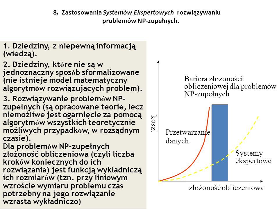 8. Zastosowania Systemów Ekspertowych rozwiązywaniu problemów NP-zupełnych. 1. Dziedziny, z niepewną informacją (wiedzą). 2. Dziedziny, kt ó re nie są