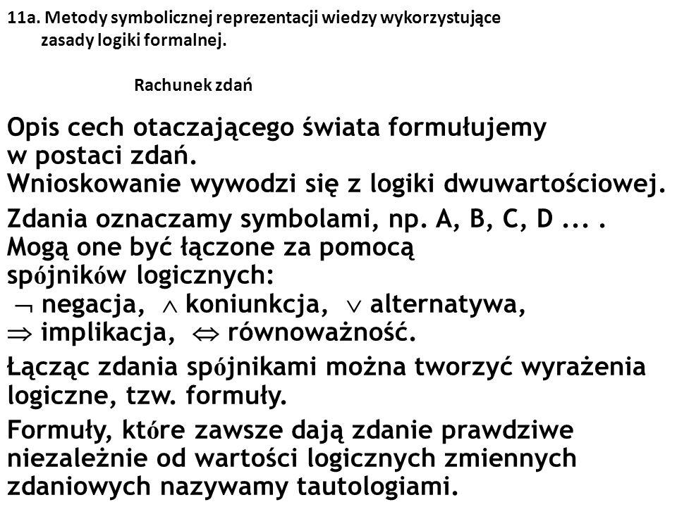 11a. Metody symbolicznej reprezentacji wiedzy wykorzystujące zasady logiki formalnej. Rachunek zdań Opis cech otaczającego świata formułujemy w postac