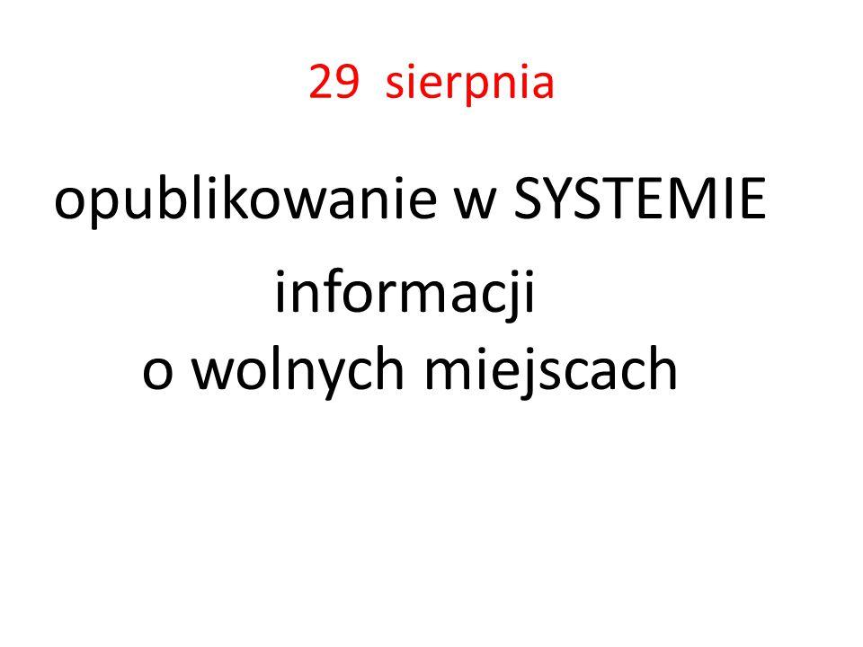 29 sierpnia opublikowanie w SYSTEMIE informacji o wolnych miejscach