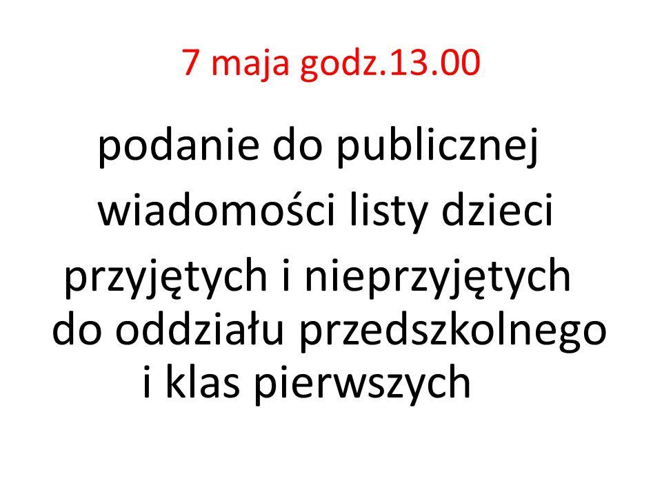 7 maja godz.13.00 podanie do publicznej wiadomości listy dzieci przyjętych i nieprzyjętych do oddziału przedszkolnego i klas pierwszych