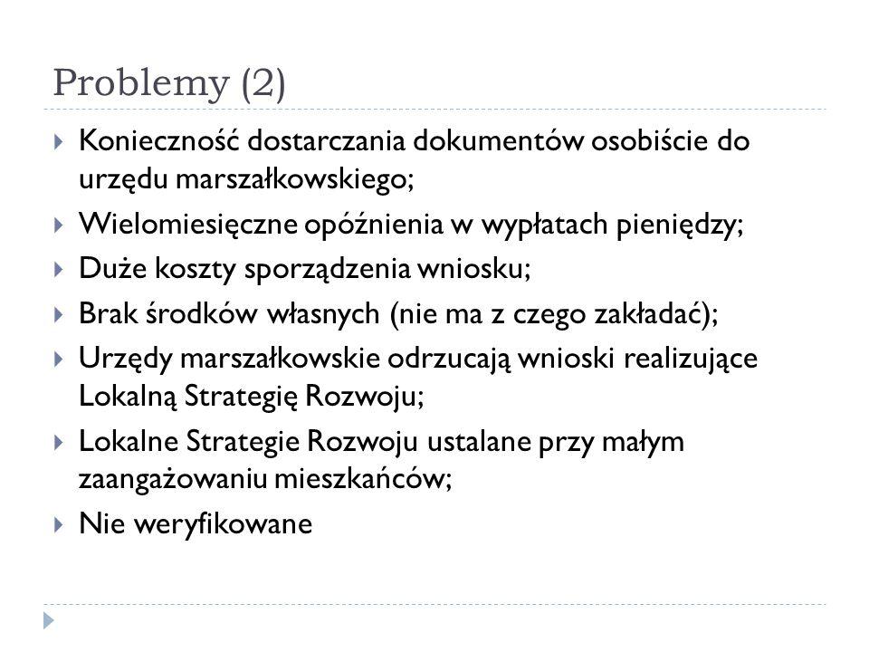 Problemy (2)  Konieczność dostarczania dokumentów osobiście do urzędu marszałkowskiego;  Wielomiesięczne opóźnienia w wypłatach pieniędzy;  Duże ko