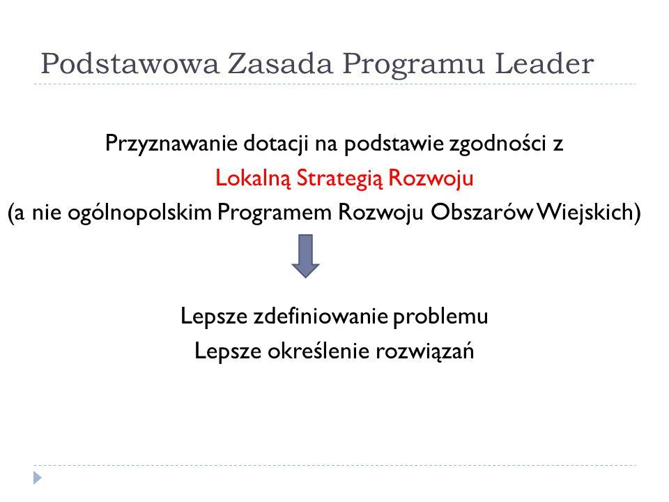 Podstawowa Zasada Programu Leader Przyznawanie dotacji na podstawie zgodności z Lokalną Strategią Rozwoju (a nie ogólnopolskim Programem Rozwoju Obsza