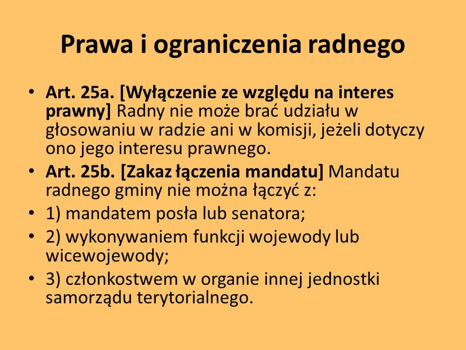 Prawa i ograniczenia radnego Art.25a.