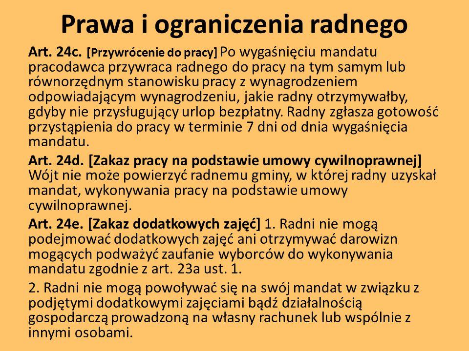 Prawa i ograniczenia radnego Art.24c.