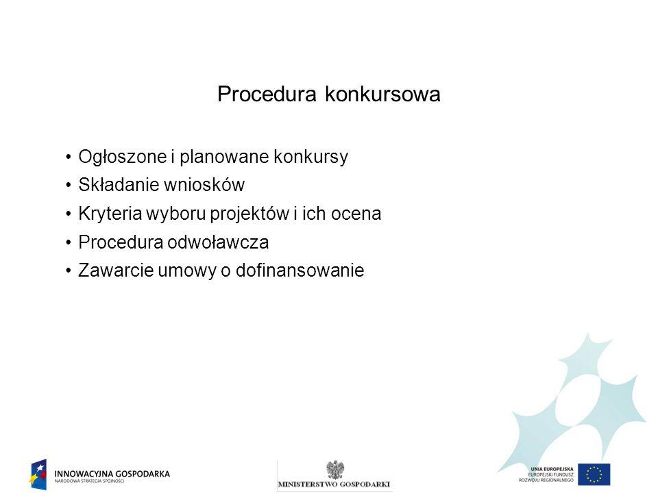 Procedura konkursowa Ogłoszone i planowane konkursy Składanie wniosków Kryteria wyboru projektów i ich ocena Procedura odwoławcza Zawarcie umowy o dof