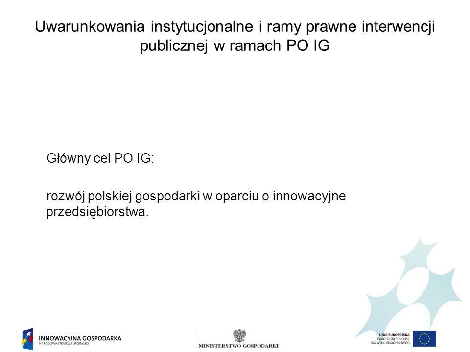 Uwarunkowania instytucjonalne i ramy prawne interwencji publicznej w ramach PO IG Główny cel PO IG: rozwój polskiej gospodarki w oparciu o innowacyjne
