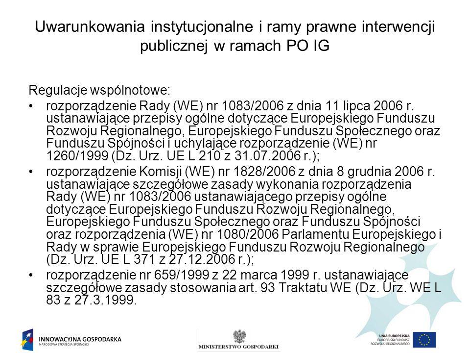 Uwarunkowania instytucjonalne i ramy prawne interwencji publicznej w ramach PO IG Regulacje krajowe: Program Operacyjnym Innowacyjna Gospodarka, 2007-2013 zatwierdzony decyzją Komisji Europejskiej z dnia 1 października 2007 r.