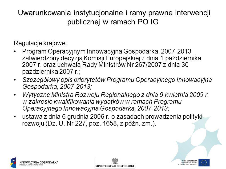 Uwarunkowania instytucjonalne i ramy prawne interwencji publicznej w ramach PO IG Regulacje krajowe: Program Operacyjnym Innowacyjna Gospodarka, 2007-