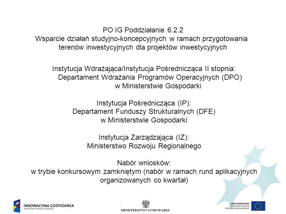 PO IG Poddziałanie 6.2.2 Wsparcie działań studyjno-koncepcyjnych w ramach przygotowania terenów inwestycyjnych dla projektów inwestycyjnych Instytucja