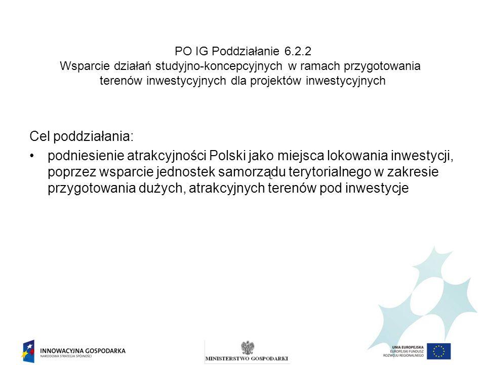 PO IG Poddziałanie 6.2.2 Wsparcie działań studyjno-koncepcyjnych w ramach przygotowania terenów inwestycyjnych dla projektów inwestycyjnych Cel poddzi