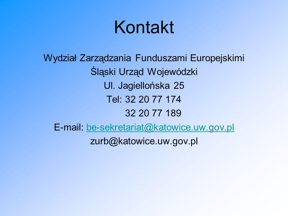 Kontakt Wydział Zarządzania Funduszami Europejskimi Śląski Urząd Wojewódzki Ul.