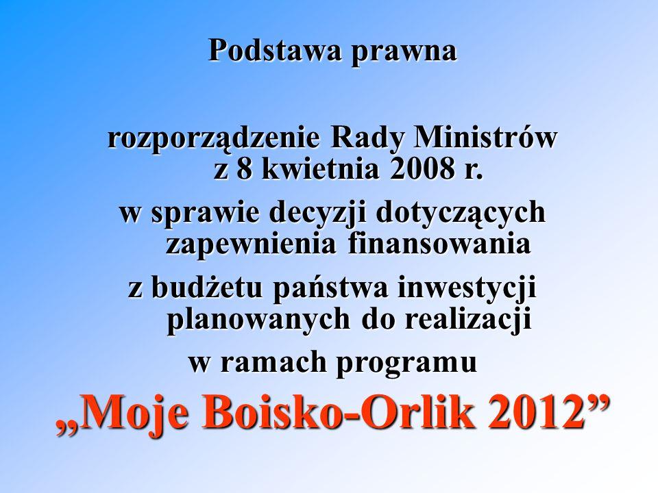 Podstawa prawna rozporządzenie Rady Ministrów z 8 kwietnia 2008 r.