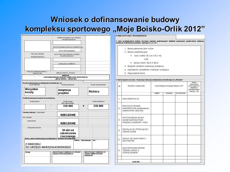 """Wniosek o dofinansowanie budowy kompleksu sportowego """"Moje Boisko-Orlik 2012"""